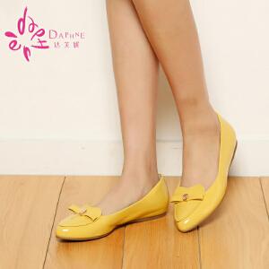 Daphne/达芙妮女鞋漆皮简约蝴蝶结尖头单鞋 1014101019
