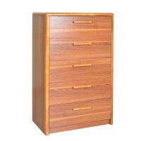 尚满 现代中式古典实木边框五斗柜 卧室储物柜收纳柜抽屉柜斗橱家具 胡桃色五斗柜