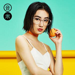 音米复古圆形眼镜框女意大利板材透明眼镜架男可配近视眼镜女2016 AAGCBY839