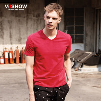 viishow夏装新款短袖T恤 欧美时尚v领短袖 修身纯色t恤潮