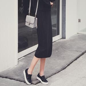【9.21超级品牌日】七格格秋冬新款 高街简洁纯色气质显瘦针织半身裙