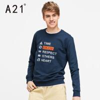 以纯A21男士圆领字母印花长袖卫衣男  学院舒适休闲春季上衣青年宽松