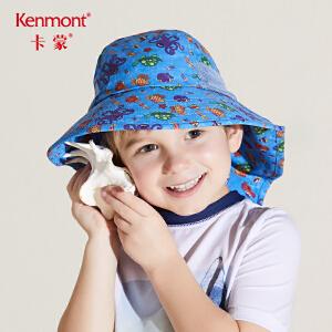 卡蒙3-6岁儿童遮阳帽渔夫帽男童夏季护脖防晒帽女童户外防紫外线4791