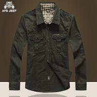AFS JEEP战地吉普 春春新款男装纯棉休闲衬衣多口袋男士长袖衬衫