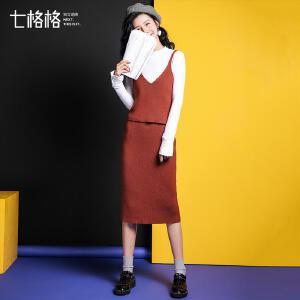 【9.21超级品牌日】七格格2017秋装新款修身短款韩版纯色V领针织吊带背心女外穿