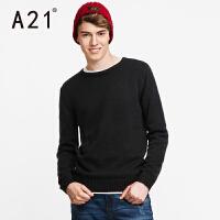 以纯A21男士毛衣圆领套头针织衫男冬季学生外套纯色线衣新款秋冬男装