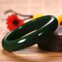 侯晓峰玉雕 新疆和田玉碧玉手镯翠绿菠菜绿手环内径54女人镯子