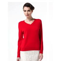 红莲 羊绒衫套头V领长袖打底针织毛衣女款