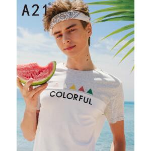以纯线上品牌a21 2017夏装新款T恤男 时尚舒适撞色印花短袖上衣