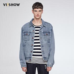 viishow秋季新款牛仔外套男水洗做旧复古夹克纯棉jacket衫潮