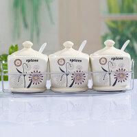 红兔子 厨房用品调味罐陶瓷套装 调料盒三件套调料罐调味盒调味瓶含托盘C