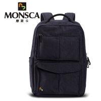 摩斯卡(MONSCA)时尚欧美商务休闲风双肩包潮学生包旅行包运动包复古休闲背包