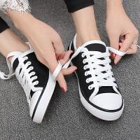 2017春新款韩版帆布鞋女系带休闲板鞋潮小白鞋女学生低帮运动鞋子