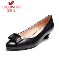 富贵鸟 春季女鞋新品 头层羊皮俏丽尖头套脚女粗跟单鞋通勤工作鞋