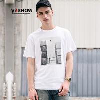 VIISHOW2017夏装新品胸前艺术印花休闲短袖T恤男纯棉套头男士短t