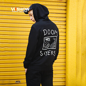 VIISHOW2017秋装新品连帽卫衣男印象后背印花男士外套运动衫潮