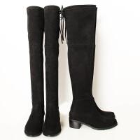 春季新款靴子粗跟过膝靴内增高长靴女瘦腿弹力长筒靴