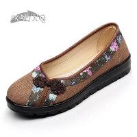 欣清秋季上新老北京布鞋中老年一字扣女凉鞋平底女布鞋夏季