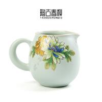 创新立体趴花公道杯汝窑功夫茶具茶海陶瓷开片汝瓷日式分茶器