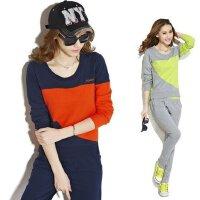 新款女款运动服套装 韩版时尚休闲套装 修身显瘦圆领长袖卫衣套装
