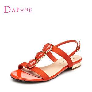 Daphne/达芙妮女鞋 水钻露趾低跟丁字扣女凉鞋1015303114