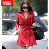 逸纯印品(EASZin)棉服 女士仿真皮水洗皮棉衣 中长款皮棉袄女式韩版修身皮装外套 女皮衣