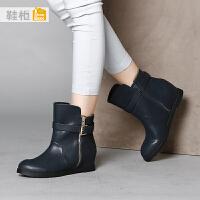 shoebox鞋柜冬季休闲内增高女靴 圆头短筒女鞋低跟侧拉链短靴