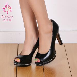 Daphne/达芙妮女鞋时尚超高跟鱼嘴鞋防水台1014102043