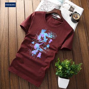 EASZin逸纯印品 男式短袖T恤 2017夏季新款中国风道文字印花体恤衫