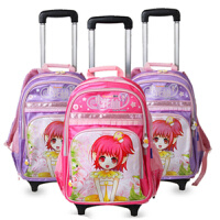 小学生书包女生1-3-6年级女童减负卡通小花仙大容量双层拉杆背包