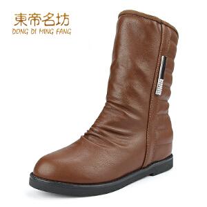 东帝名坊新款女靴  韩版中筒骑士靴 甜美舒适内增高靴子32825