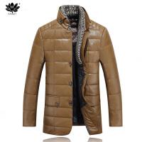 逸纯印品(EASZin)皮羽绒 男士2016秋冬新款仿真水洗皮羽绒服外套 可拆围脖双重领