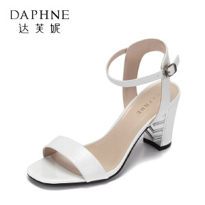 Daphne/达芙妮17复古方头露趾高跟通勤女鞋 简约一字扣带粗跟凉鞋