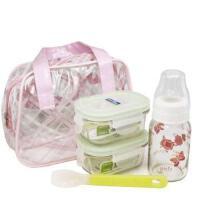 三光云彩Glasslock玻璃扣套装奶瓶套装保鲜盒奶瓶硅胶勺附包BB01
