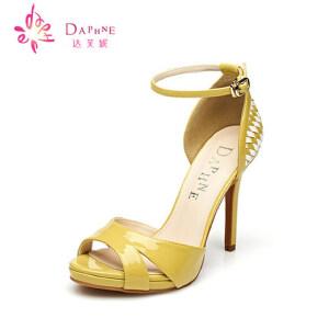 Daphne/达芙妮 夏  细跟防水台超高跟女凉鞋1015303124