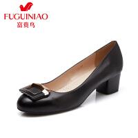 富贵鸟  秋季新款头层羊皮橡胶底女单鞋方形饰扣粗跟女鞋