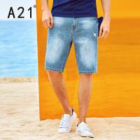 以纯线上品牌a21 2017夏装新款百搭牛仔短裤男英伦青年牛仔裤五分裤