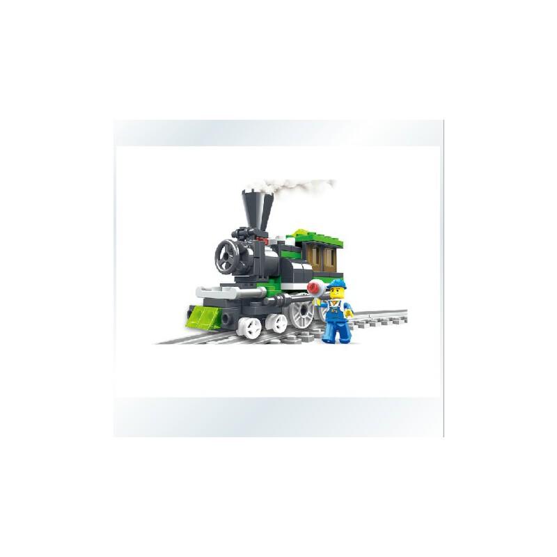 万格积木拼插乐高式塑料拼装积木乐高小人城市火车26092n清仓