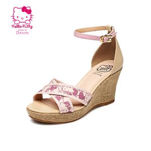 Daphne/达芙妮2015夏季甜美女鞋 坡高跟露趾一字扣凉鞋1015303915