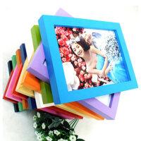 木质礼品相框 平板实木相框 照片墙 6寸挂墙蓝色