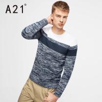 以纯A21新品秋装条纹撞色长袖毛衣男时尚圆领套头毛衣百搭男士线衫潮
