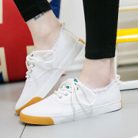 匡王夏季透气帆布鞋女学生韩版休闲鞋平底穿托两用小白鞋女鞋