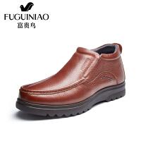 富贵鸟冬季加绒棉鞋男鞋英伦 新款高帮皮鞋男士商务休闲皮鞋子