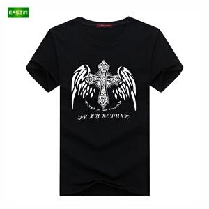 逸纯印品(EASZin)男士短袖t恤 夏季韩版短袖T恤十字架印花男士大码加肥T恤衫潮男