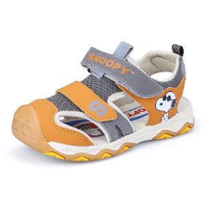 史努比童鞋夏季新品儿童机能鞋镂空透气儿童机能凉鞋包头防踢