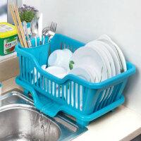 厨房置物架 塑料加厚滴水碗碟收纳架 滤水沥水碗碟架 滴水碗架(正面漏水)--蓝色