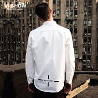viishow春装新款长袖衬衫 欧美街头潮流白衬衫男 字母衬衣潮