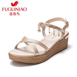 富贵鸟凉鞋女夏2017新款高跟舒适坡跟一字扣女鞋子