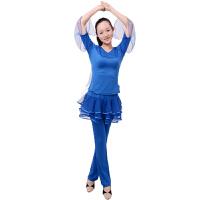 夏季舞蹈广场舞服装 成人拉丁舞蹈服表演服演出服网纱裙裤套装瑜伽套装