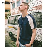 VIISHOW2017夏装新品休闲短袖T恤圆领套头撞色刺绣男士短t上衣